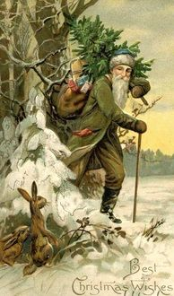 Father Christmas hauling a Christmas tree out of the forest.