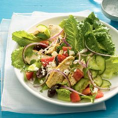 This is what you should eat once a week: Greek Salad With Grilled Chicken   health.com