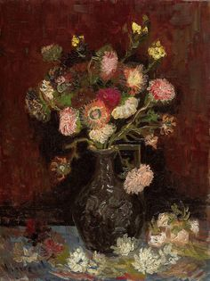 Vase with gladioli and Chinese asters, Vincent van Gogh: Journal (composition book, notebook) with 160 ruled/ lined pages. Size 6 x 9 inch. by Vincent van Gogh. Art Van, Van Gogh Art, Vincent Van Gogh, Van Gogh Museum, Flores Van Gogh, Monet, Van Gogh Flowers, Flowers Vase, Van Gogh Pinturas