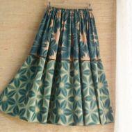 着物リメイク 古布 手作り 藍木綿 パッチワーク ジャンパースカート