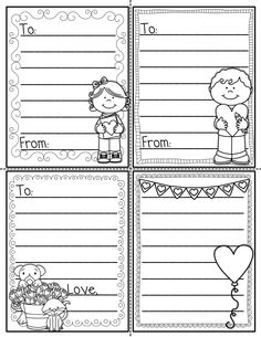 Printable Valentines!  Perfect to put in a writing center!