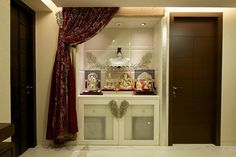Interior Design by Degree Design Associates, Surat. Browse the largest collection of interior design photos designed by the finest interior designers in India. Mandir Design, Pooja Room Design, Temple Room, Flat Interior Design, Study Table Designs, Puja Room, Dining Table Design, Dream House Plans, House Rooms
