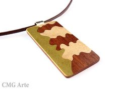 Wooden necklace rectangular pendant wood inlay necklace by CMGArte #jewelry #necklace #pendant #silver #wood #wooden #etsy #marquetery #women #fashion #trendy