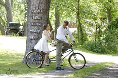 what is more romantic that a bicycle built for 2? Fun photography props available at The Little Log Wedding Chapel in Niagara