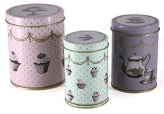Set of 3 KATIE ALICE Cupcake Couture SHABBY CHIC Nested STORAGE TINS