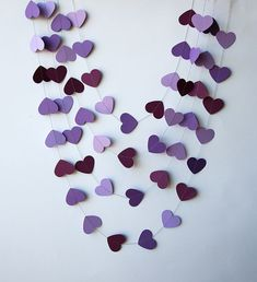 Paper heart garland - Orchid purple violet lavender heart garland, Wedding garland, Wedding decoration, Bridal shower decor, Purple wedding on Etsy, $6.00