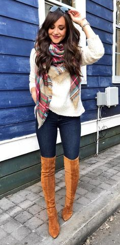 #winter #outfits women's white sweater and pair of brown suede knee high boots. Click To Shop This Look.