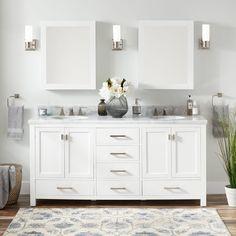 Modero Double Vanity for Rectangular Undermount Sinks - White - Double Sink Vanities - Bathroom Vanities - Bathroom Master Bathroom Vanity, Double Sink Bathroom, Small Bathroom Vanities, Bathroom Vanity Cabinets, Bathroom Furniture, Bathroom Ideas, White Bathrooms, Toilet Vanity, Men's Bathroom