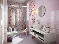 azulejos de color rosa con bandas