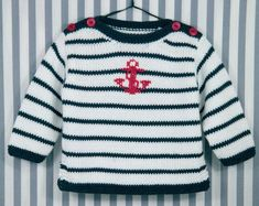 Sailor: Modal, Cotton> Sweater> Baby / Kids> Woolen Button … - Everything About Knitting Baby Knitting Patterns, Baby Sweater Knitting Pattern, Knit Baby Sweaters, Baby Hats Knitting, Knitting For Kids, Easy Knitting, Knitting Designs, Baby Patterns, Cotton Sweater