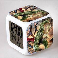 Hulk Classic Movie Around LED Alarm Clock despertador Digital Clock Led Alarm Clock, Superhero Design, Digital Alarm Clock, Marvel Avengers, Hulk, Night Light, Thor, Color Change, Action Figures