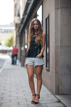 WANT! The most amazing peplum top ever seen!  Necklace, shoes and leather top <3 (!), Zara. Shorts, Acne.