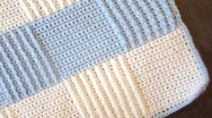 Baby Blue Afghan, free pattern with video tutorial by Esther Leavitt. Uses FPDC for ribbed texture. . . . . ღTrish W ~ http://www.pinterest.com/trishw/ . . . . #crochet #blanket #throw