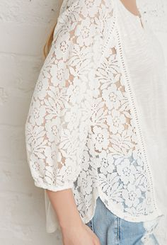 Floral Lace-Paneled Peasant Blouse | Forever 21 - 2000131151