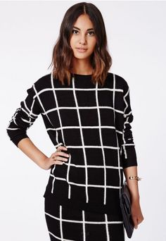 Ayisha Oversize Grid Brushed Knit Jumper Monochrome - Knitwear - Missguided