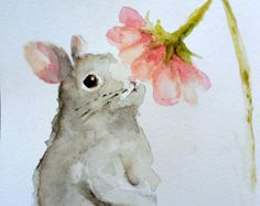 Bunny Rabbit painting original watercolor Nursery spring Easter animal art