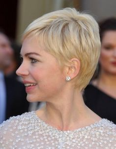 Michelle Williams pixie cut side-view More