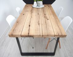 Amazing new inspiration reclaimed plank table ideas Oak Table Top, Wood Table, Dining Table, Trestle Table, Rustic Table, Dining Room, Home Furniture, Furniture Design, Plank Table
