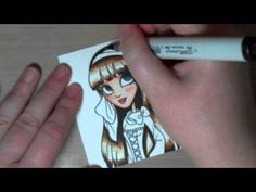 Feathered hair Copic tutorial