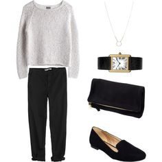"""""""Untitled #131"""" by keelyhenesey on Polyvore ....black/white and updated classic!"""