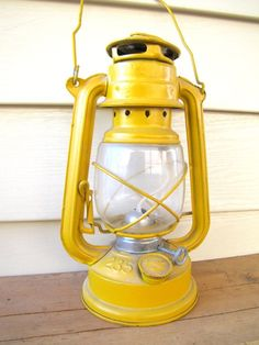 yellow kerosene lantern
