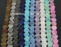Gros Mix 10 couleur titane Geode Drusy Druzy Agate pendentif perles, Rugueuse lâche pierre coeur Neckalce bijoux en 12 mm, 17 PCS