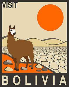 """Es una carta de Bolivia. Hay una llama, montanas, y un sol anaranjado en el desierto. La llama es café y blanco.  La carta dice """"Visita Bolivia"""". El stilo de la pintura es realistico."""