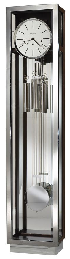 Howard Miller Clocks Modern Grandfather Clock with Chrome Finished Accents at Sheely's Furniture & Appliance
