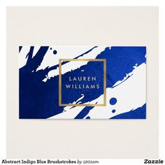 Abstract Indigo Blue Brushstrokes Business Card - Inky, indigo blue paint brushstrokes create an abstract backdrop on this designer business card template. Your name or business name is displayed in a faux gold box on the front for a modern aesthetic. This double-sided card allows ample room on the backside for your contact info. A fun, eye-catching card for creative professionals.