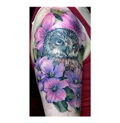 Owl tattoo by Pete Zebley Off The Map Tattoo, Nyc Art, Body Mods, Flower Tattoos, Tattoo Artists, Watercolor Tattoo, Fine Art, Instagram Posts, Flowers