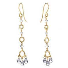 Temple St. Clair Aquamarine Sapphire Yellow Gold Drop Earrings | From a unique collection of vintage drop earrings at https://www.1stdibs.com/jewelry/earrings/drop-earrings/