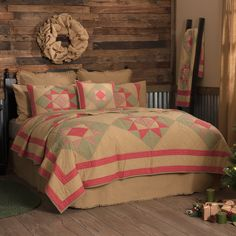 Dolly Star King Quilt 95 x 105 from VHC Brands (Victorian Heart). The Dolly Star Quilt dresses your bed with red-plaid stars set in emerald green diamon Burlap Bedding, Primitive Bedding, Christmas Bedroom, Twin Quilt, Natural Tan, Queen Quilt, Bed Sizes, Red Plaid, Red Green