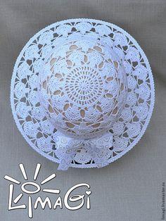 Купить или заказать Шляпка 'Перышки ангела' - описание вязания в интернет-магазине на Ярмарке Мастеров. Продается описание вязания в электронном виде (формат документа - pdf). Высылается после оплаты на электронную почту или скачивается в указанном месте. Размер: около 52 см. Высота 16 см и 7,5 см поля (всего 23,5 см). Пряжа: Begonia Yarnart (169 м в 50 гр; 100% мерсеризованный хлопок) – до 75 гр, крючок 1,5. Толстая рыболовная леска диаметром 1,5 мм для полей, для отделки шляпки лент...