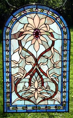 Pink Aster Drape Arched Stained Glass Window Panel