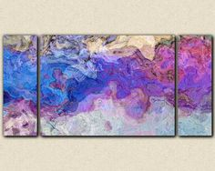 """Triptych abstract art canvas print, 30x60 to 40x78 stretched canvas giclee, in purple and blue, """"Lavender Blue"""""""