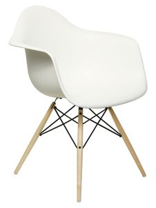 Herman Miller Eames molded plastic arm chair in white
