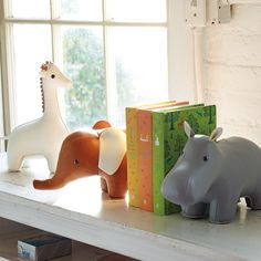 Menagerie Bookend - Grey Hippo | Serena & Lily
