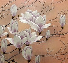 Magnolia is May   PICTURES, EMBROIDERED BY SILK ON THE SILK  author's embroidery of the masters   embroiderers of China