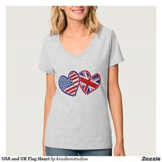 USA and UK Flag Heart T-Shirt