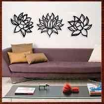 Quadro Decorativo Escultura De Parede Em Mdf - Flor De Lotus