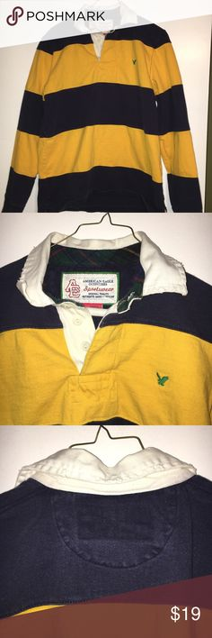 Men's small long sleeve rugby yellow and navy Long sleeve rugby shirt. Navy blue and yellow. White collar. Three rubber buttons. Men size small. American Eagle outfitters. This is a heavyweight rugby American Eagle Outfitters Shirts Polos