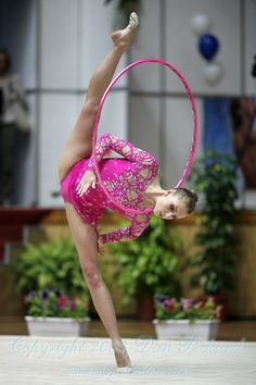 Inna Zhukova in rhythmic gymnastics performing hoop at Bourgas GP 2008