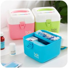 Candy-colored household medicine box portable storage box first aid kit drugs baby small medicine chest