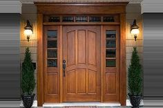 Exterior Doors | arched locking rail with sidelites and transom | Bayer Built Woodworks