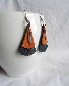 Leather Earrings - Boho Earrings - Native American Earrings - Tribal Earrings