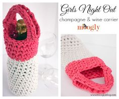 [Free Pattern] This Is One Of The Cutest Presents You Could Give Someone: Crochet Wine Bottle Totes (Bottle Bag Crochet)