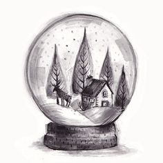 Mini snow globe drawing. I've decided to only post festive things between now and Christmas