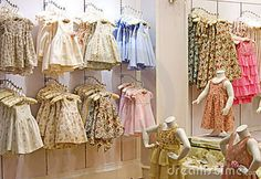 children clothing store - I like the 'sticking' out from the wall thing. Not the regular displaysPhoto about Image of children's clothes in a shop. Boutique Interior, Boutique Decor, Kids Boutique, Clothing Store Displays, Clothing Store Design, Kids Clothing Brands, Children Clothing, Baby Store Display, Victorian Children's Clothing