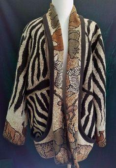 Zebra Animal Print Tribal Blanket Jacket Its in the Bag XL Cotton With Pockets #ItsintheBag #BasicJacket