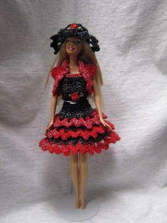 Handmade crocheted party dress, shrug & hat for Barbie